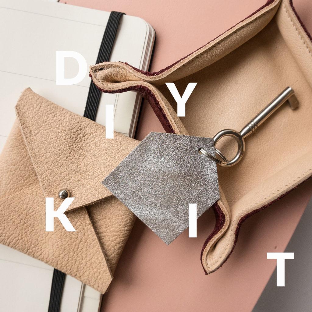 DIY Bastelkit Mood Shot Täschchen in Beige, Schlüsselanhänger in Silber und Aufbewahrungsschale in Weinrot und Beige