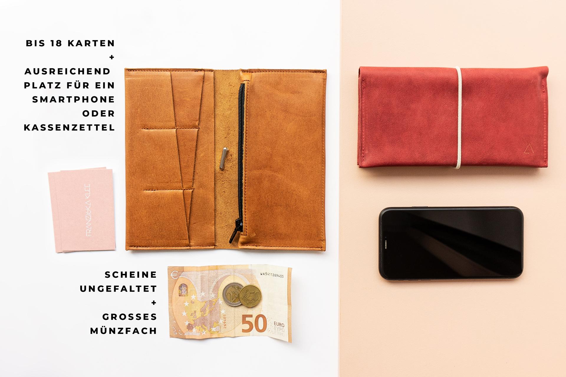 In unser Portemonnaie OLI LArge passen bis zu 18 Karten, Geldscheine, Münzen und sogar dein Smartphone.