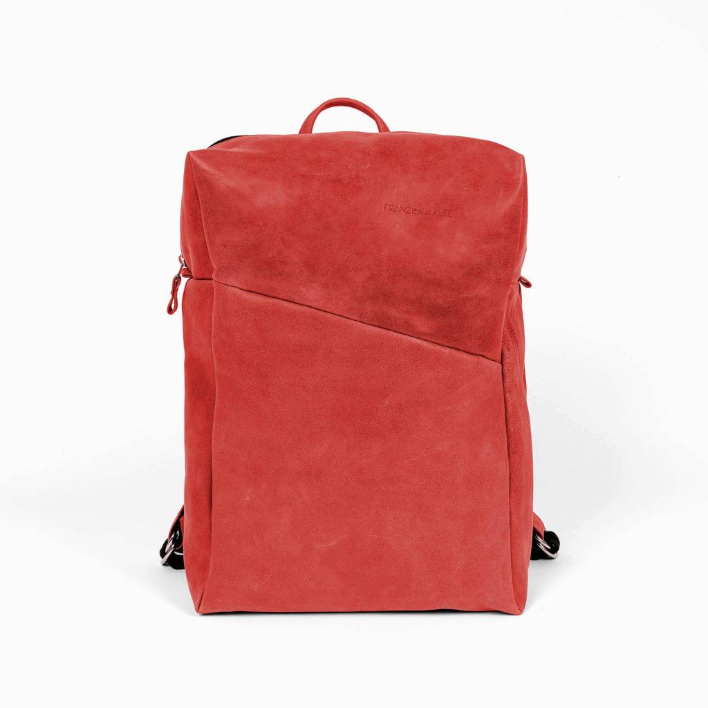 Rucksack NEO Large aus nachhaltigem Naturleder in Rot mit extra weiter Öffnung