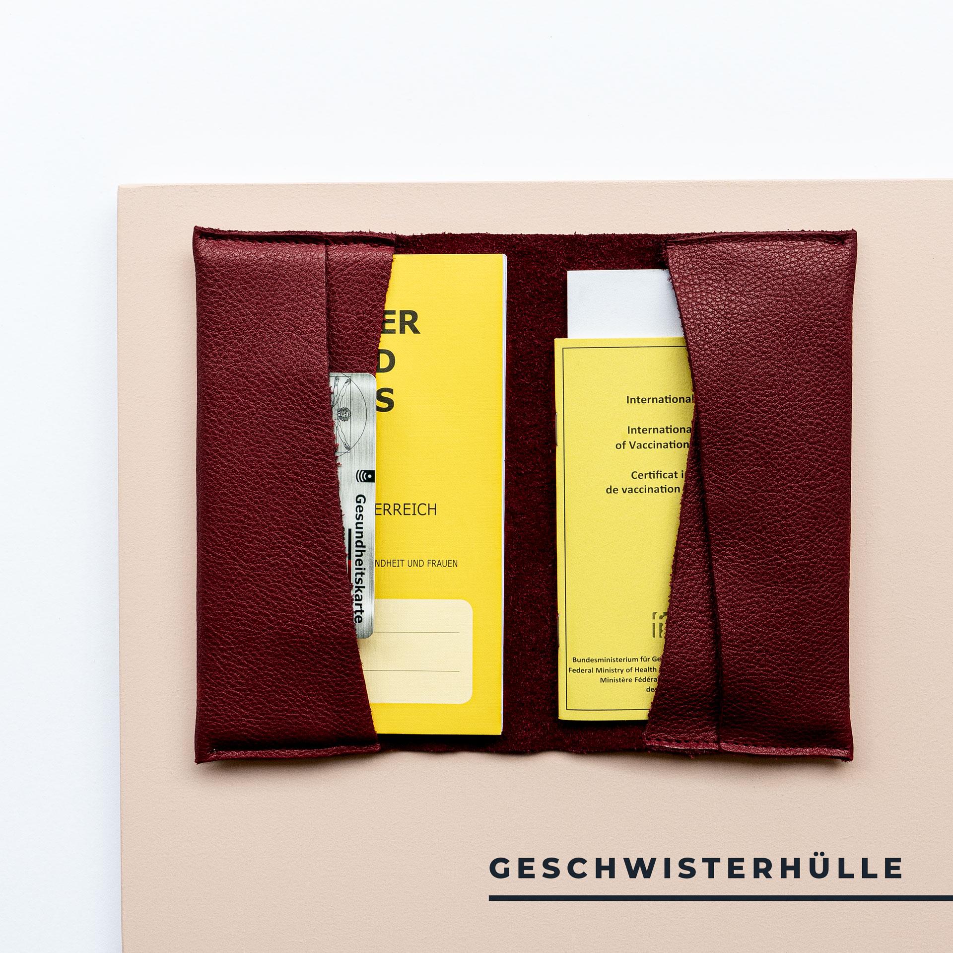Mutter-Kind-Pass-Huelle-Oesterreich-Naturleder-Franziska-Klee-weinrot-geschwisterhuelle